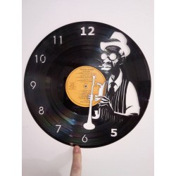 Horloge vinyle bluesman trompette