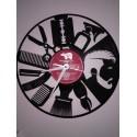 Horloge vinyle thème coiffeur homme
